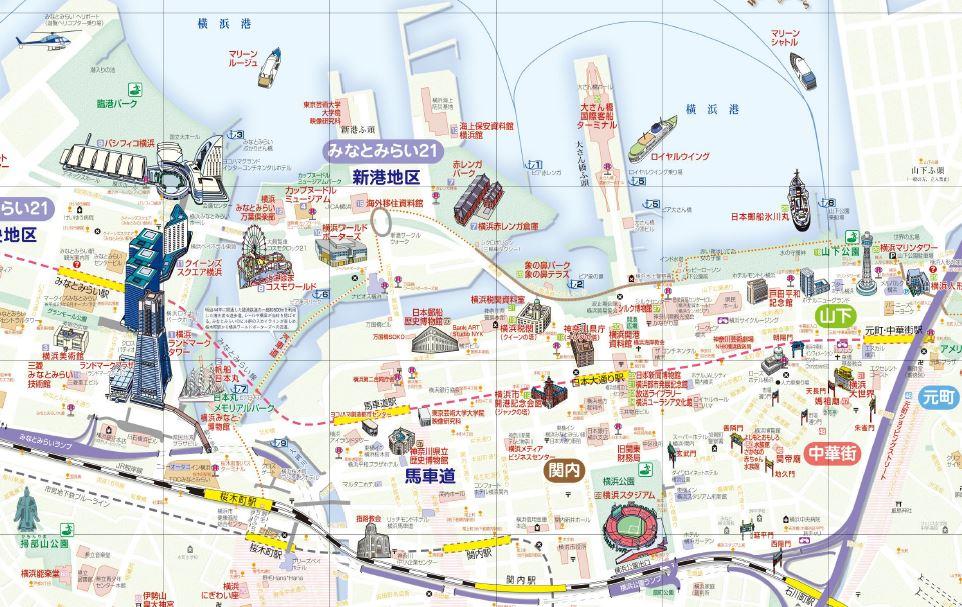 横浜地図 横浜地図  「現在の横浜港湾部地図」 横浜観光情報ホームページより